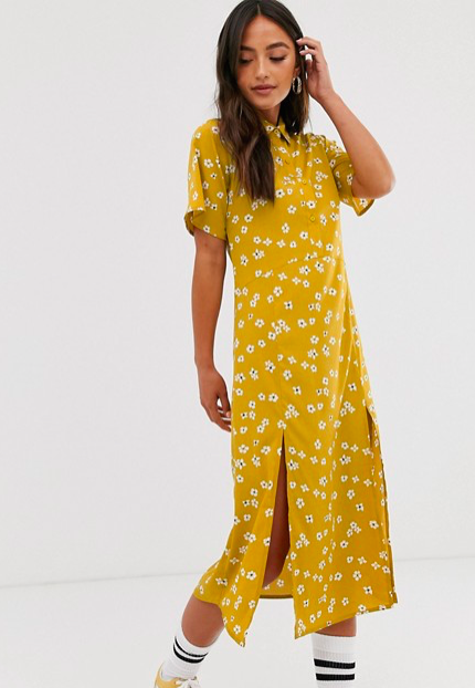 mustard yellow floral daisy dress with two splits