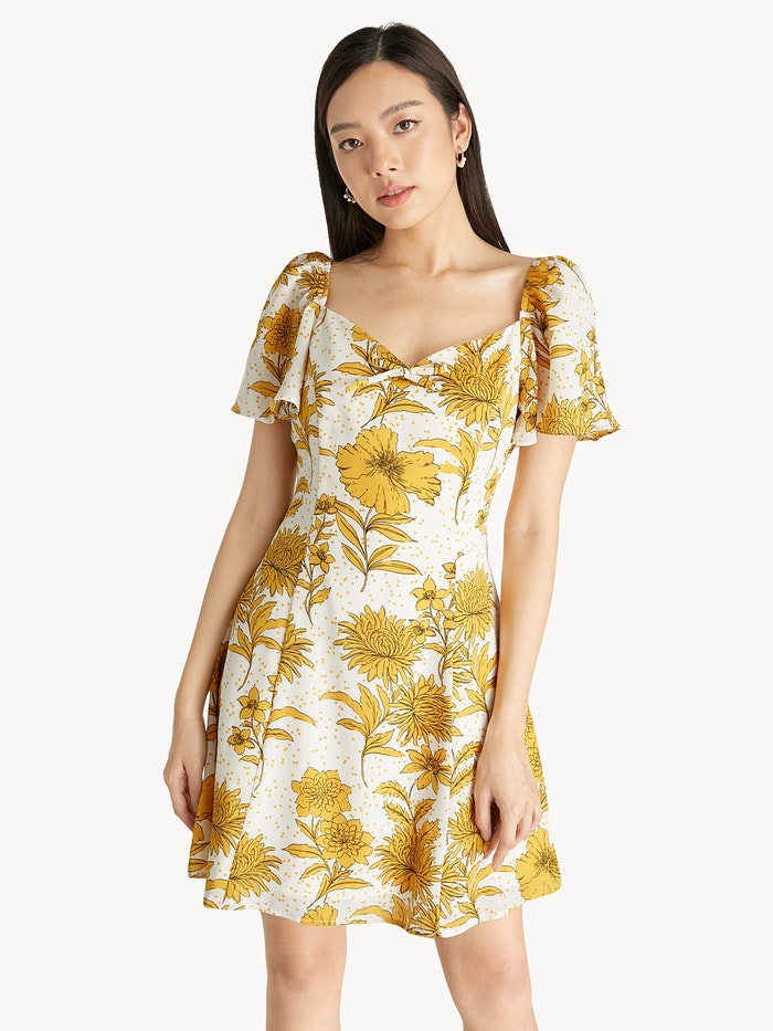 traditional floral yellow prints on mini dress