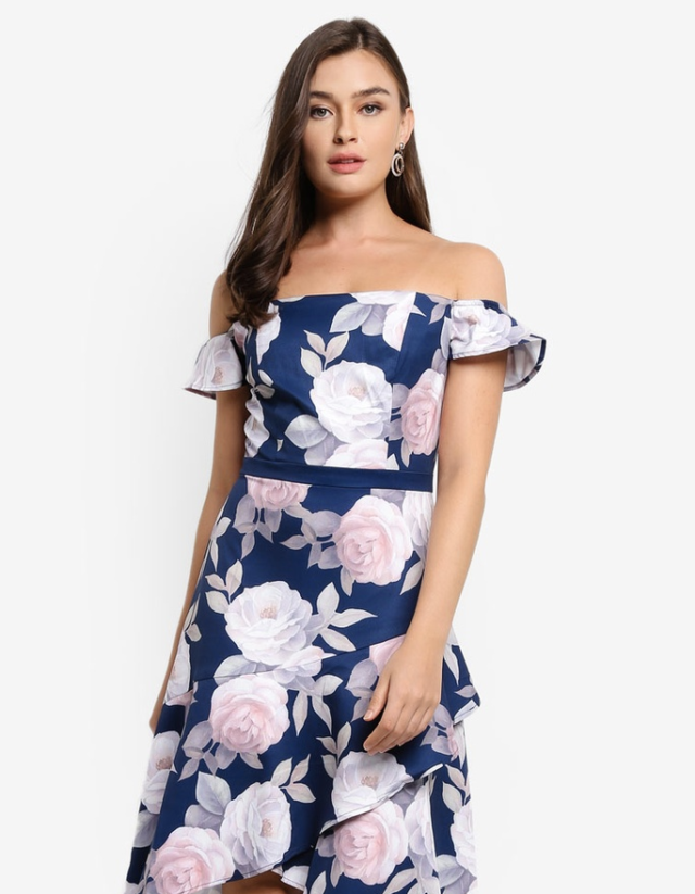 blue and pink print floral dress