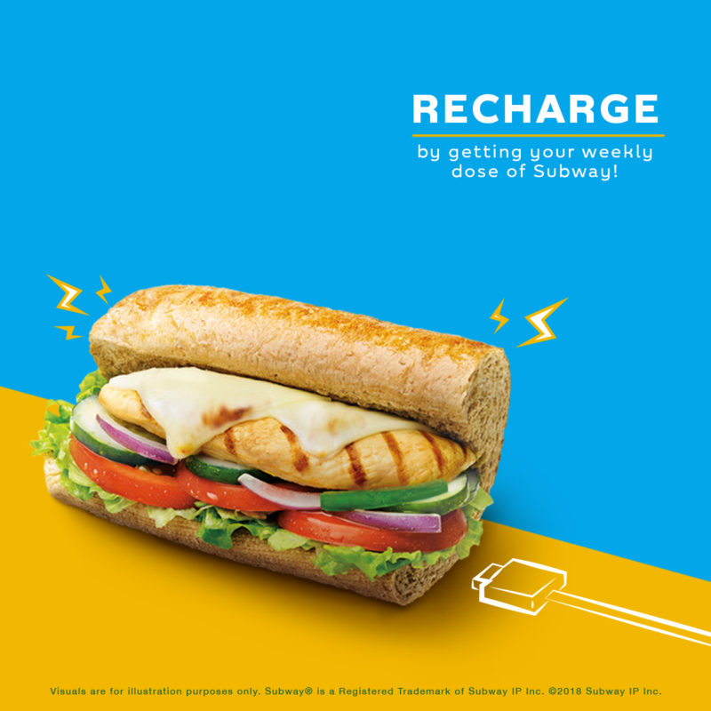 Subway 6-inch sandwich with blue and yellow background