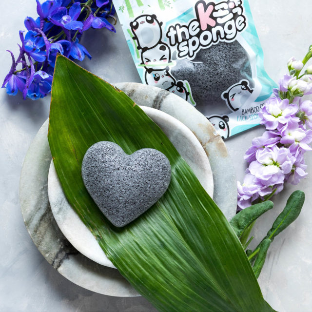 cute k beauty active charcoal cleansing sponge
