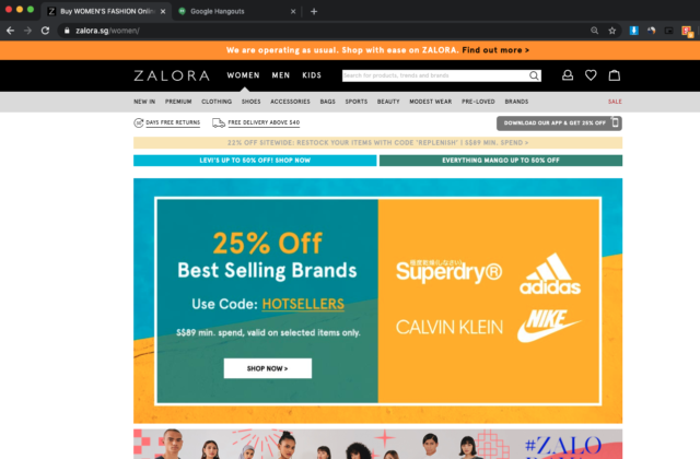 zalora singapore website home page