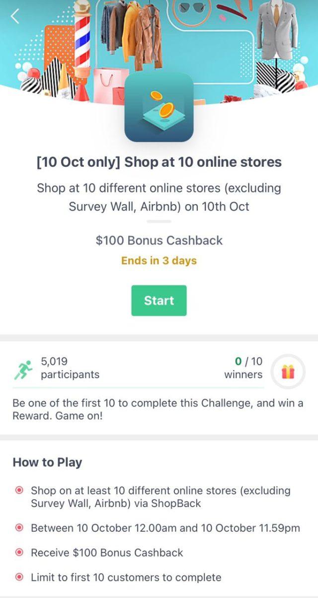 10.10 sales ShopBack challenges - $100 Bonus Cashback