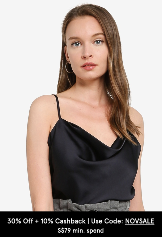 abercrombie and fitch satin cowl neck bodysuit