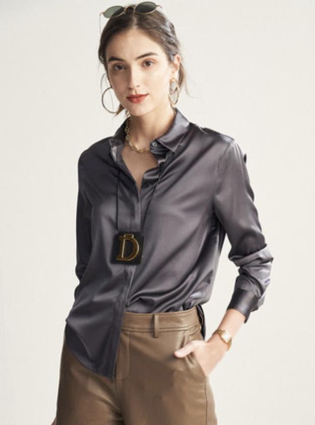long sleeved satin silk shirt