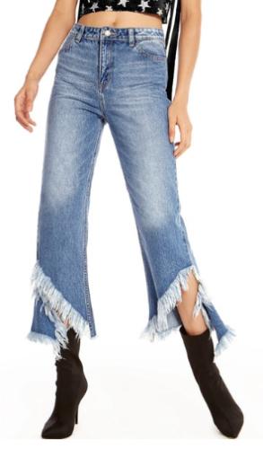 เทรนด์เสื้อผ้าผู้หญิง Kyu Frayed Hem Jeans