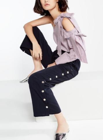 เทรนด์เสื้อผ้าผู้หญิง Rika Side Snap Trousers