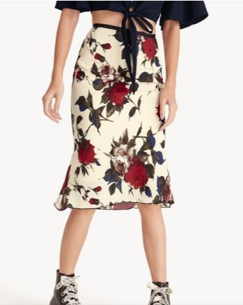 เทรนด์เสื้อผ้าผู้หญิง Midi Sheer Rose Texture Lettuce Trim Pencil Skirt