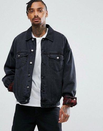 แจ็คเก็ตยีนส์ ASOS Oversized Denim Jacket in Washed Black