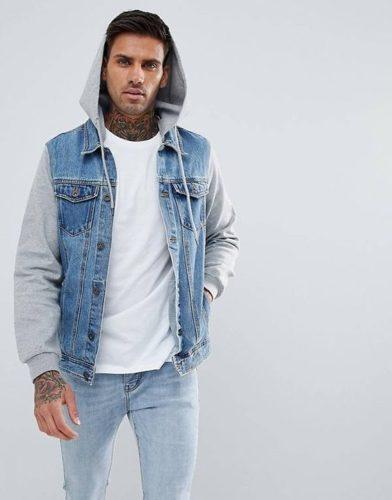 แจ็คเก็ตยีนส์ Pull&Bear Denim Jacket With Hood In Blue