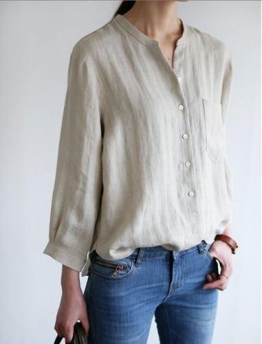 แบบเสื้อทำงานผู้หญิง ผ้าลินินแบบไม่มีปก