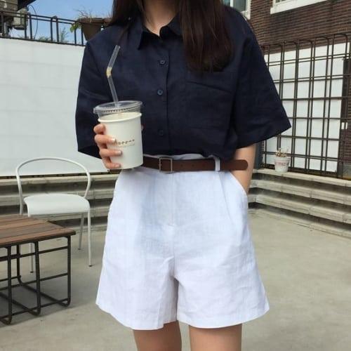 แบบเสื้อทำงานผู้หญิง ผ้าลินินแขนสั้น