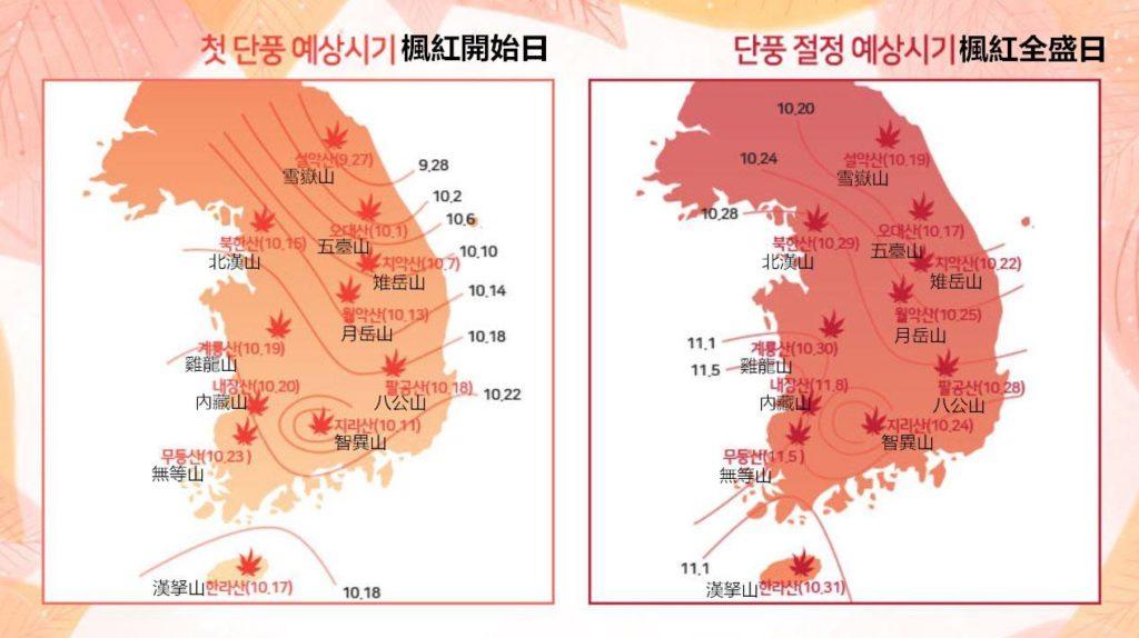 韓國紅葉情報2017