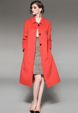 Sunnydaysweety 經典氣質雙面羊毛呢長外套