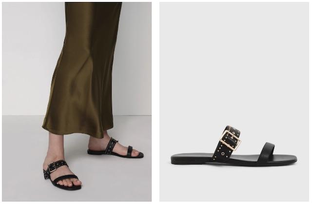 小ck 鉚釘雙帶拖鞋
