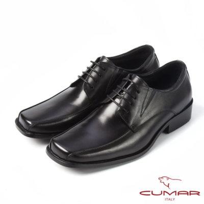 【CUMAR】CUMAR百搭首選 上班族真皮綁帶皮鞋(黑)