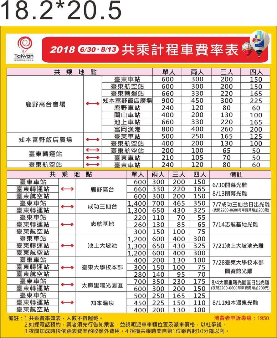 台東熱氣球節計程車費率