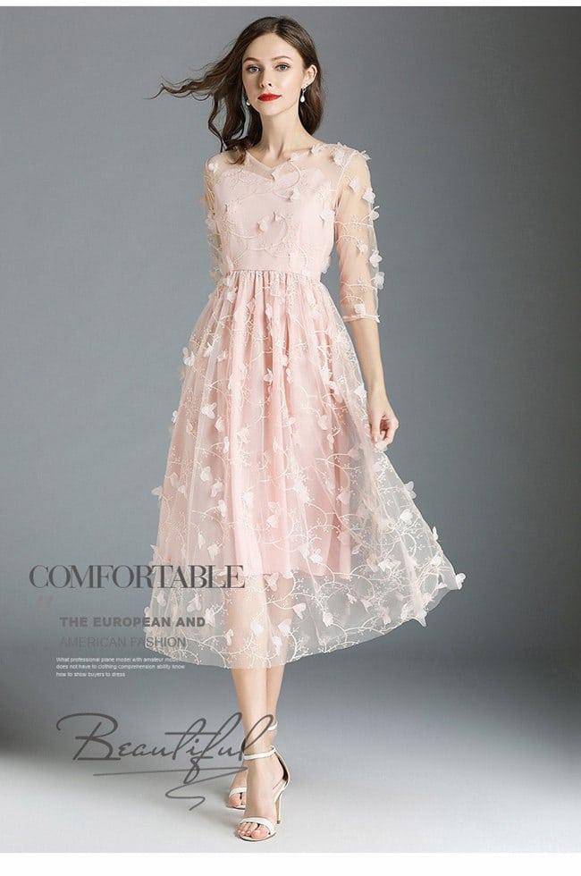 立體刺繡網紗五分袖禮服洋裝