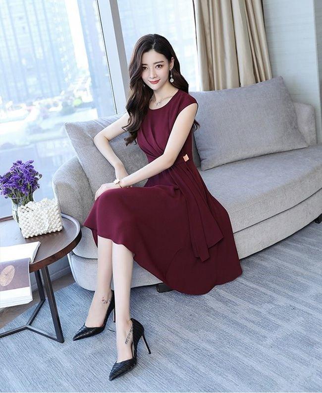 韓系典雅氣質純色高腰洋裝