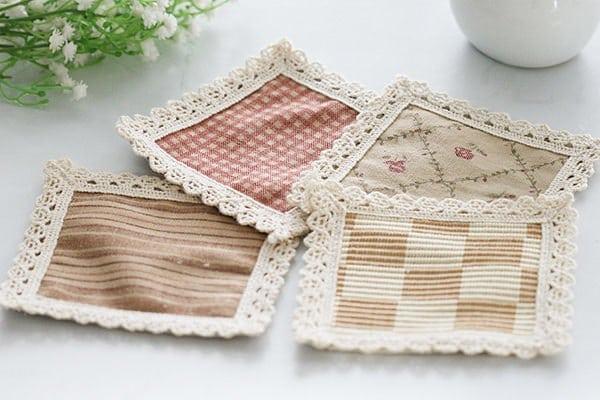歐式鄉村風純棉編織正方形杯墊