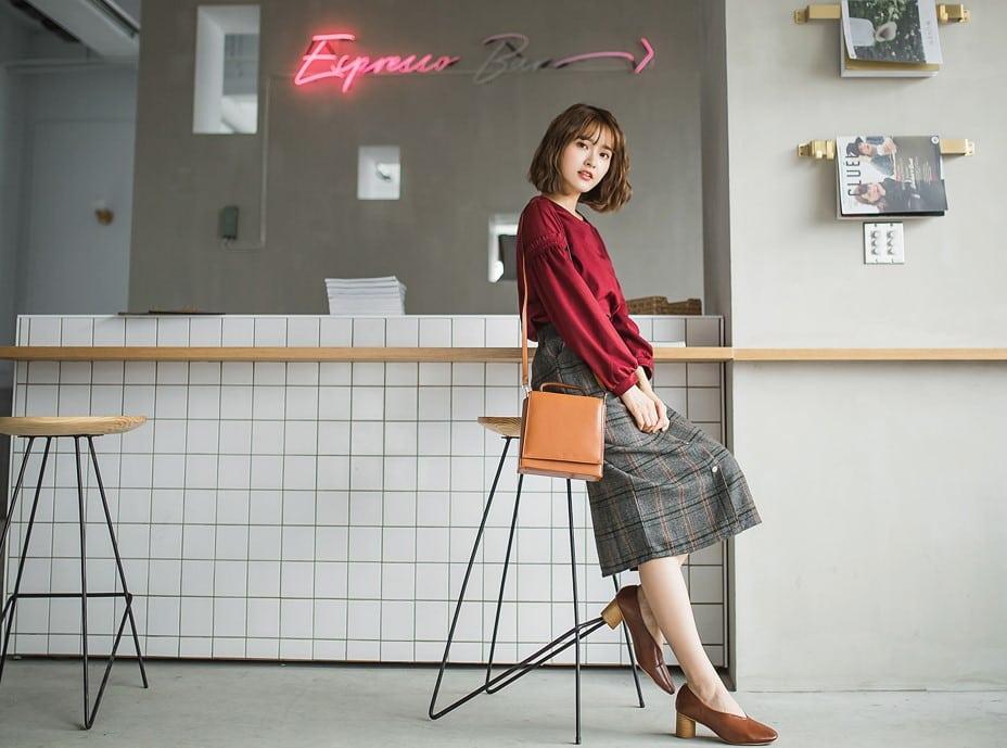 英倫格紋釦毛料直中長裙