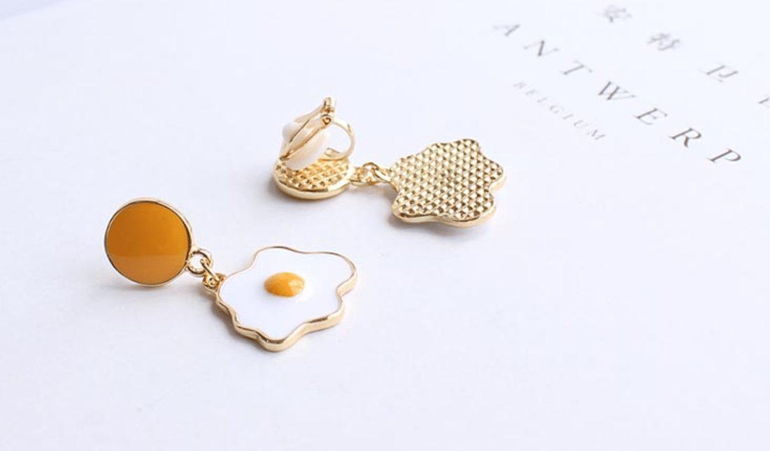 廣州嬌點 日系可愛荷包蛋夾式耳環