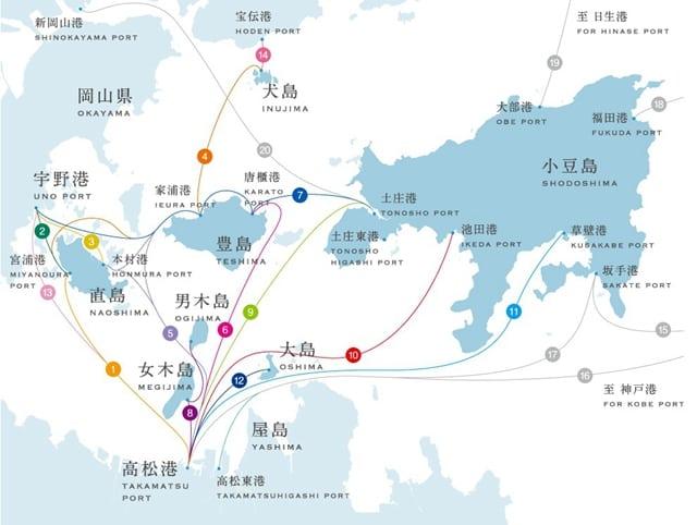 瀨戶內海島嶼位置圖