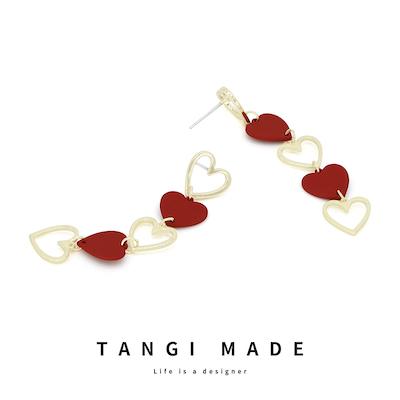 TANGI原创设计纯银日韩秋冬新款爱心长款气质百搭耳环无耳洞耳夹