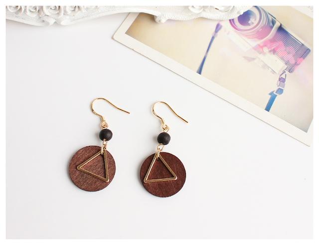 木質淘寶 夾式耳環