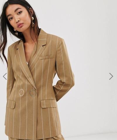 ASOS DESIGN camel stripe suit blazer with popper fastening