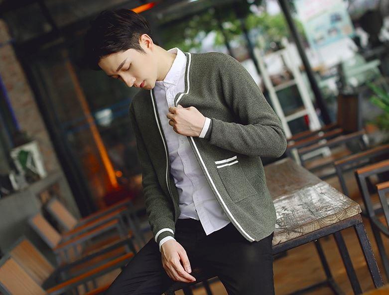 DUZHI 男秋季針織開襟外套