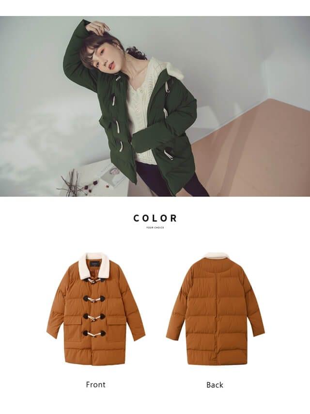 Luxe 純色毛領牛角釦羽絨棉大衣外套