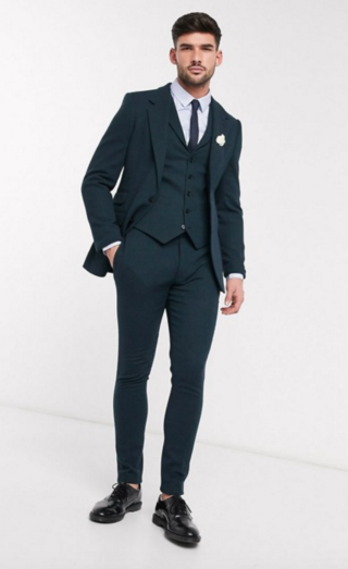 ASOS DESIGN wedding super skinny suit in dark green wool blend twill