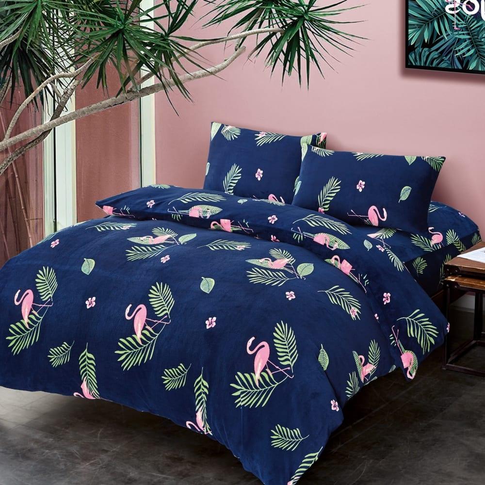 La lune 法蘭絨溫暖好眠雙人床包兩用被套組
