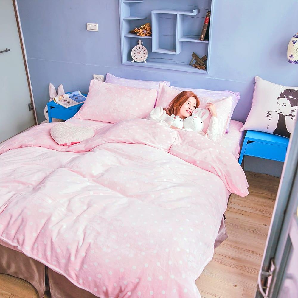 OLIVIA 馬卡龍法蘭絨雙人床包兩用被毯四件組