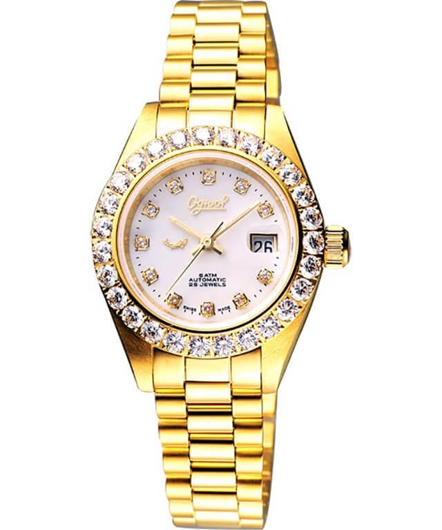 愛其華真珠貝晶鑽機械女錶