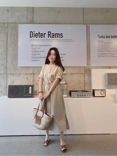 簡約亞麻短袖長洋裝