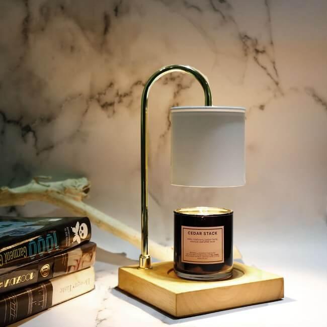 北歐質感原木底座香氛蠟燭暖燈