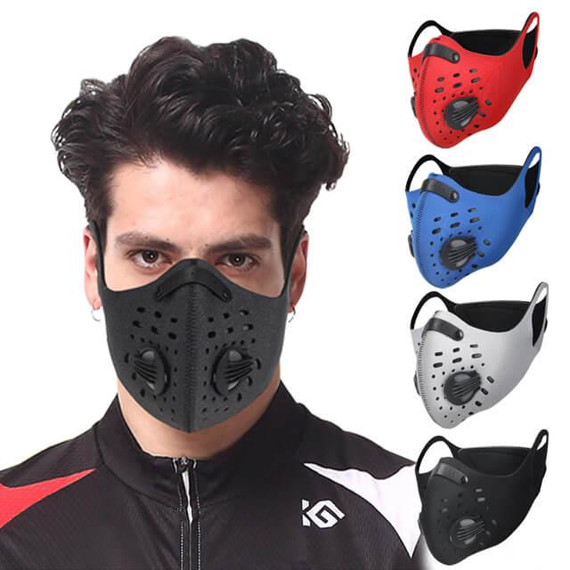 耳掛純色戶外運動機車防風防塵防霾多重防護氣閥立體口罩
