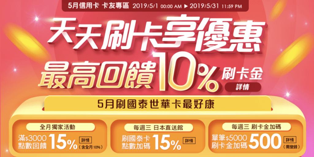 樂天市場2019年5月信用卡優惠活動