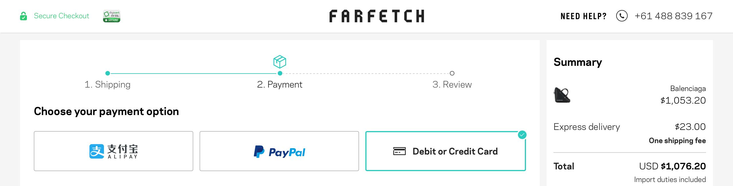2019 farfetch 網購教學結帳