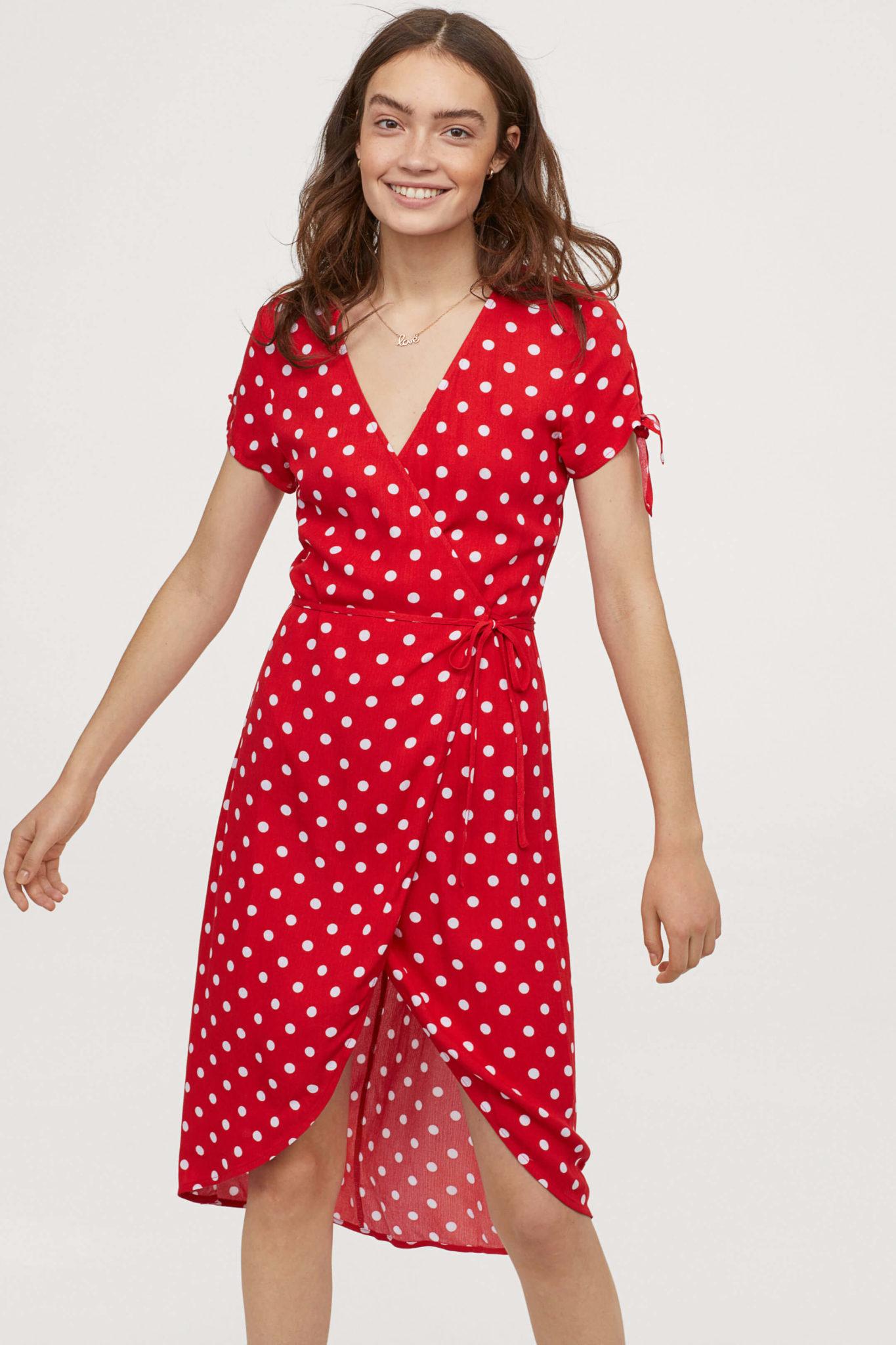 紅色點點高腰洋裝