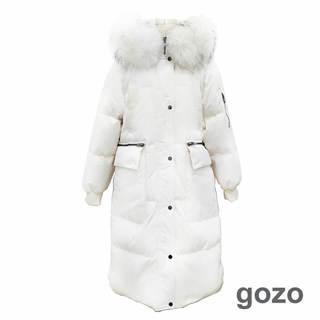 gozo 90%鴨絨 品牌LOGO過膝長版羽絨外套