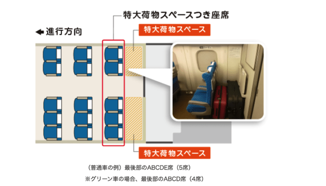 附有大型行李空間的座席