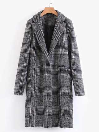 女生長版大衣 前口袋單個紐扣格紋大衣外套