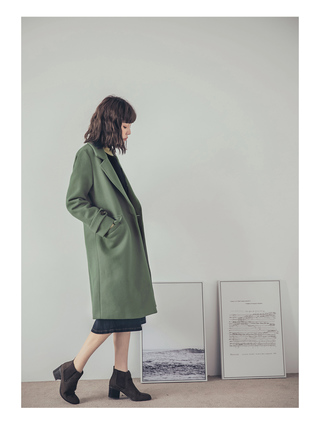女生長版大衣 高雅質感毛呢翻領大衣外套