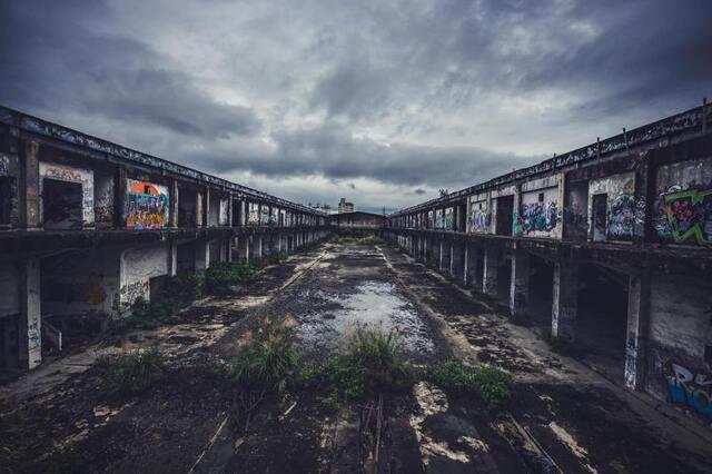 陰天 廢棄 樹林廢墟 塗鴉