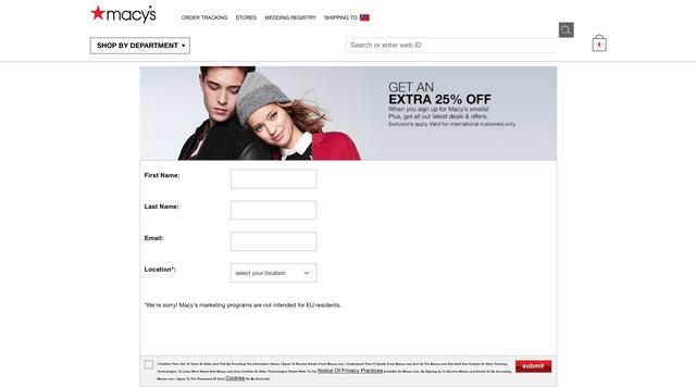 Macy's 梅西百貨網路購物 註冊會員