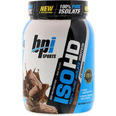 BPI Sports, ISO HD,全純分離蛋白,巧克力布朗尼蛋糕口味