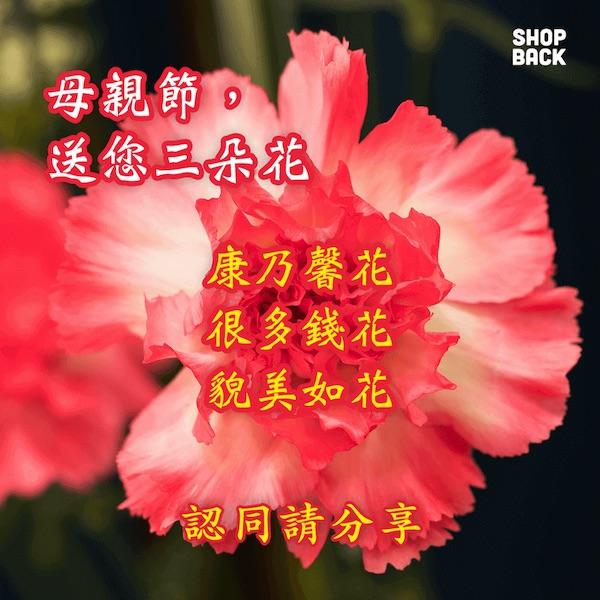 ShopBack 母親節長輩圖:送媽媽三朵花